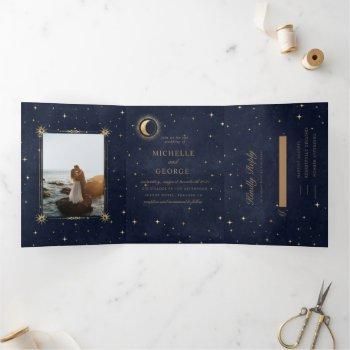 celestial gold moon tri fold wedding invitation