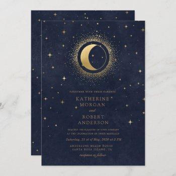 celestial midnight blue stars moon wedding invitation