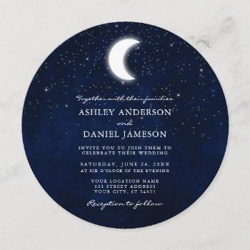 celestial moon and stars round wedding invitation