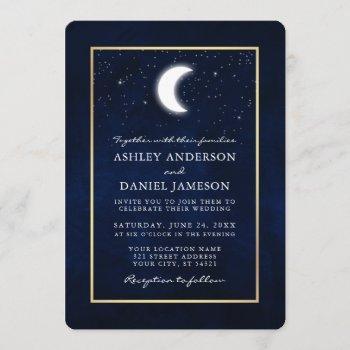 celestial moon stars gold frame wedding invitation