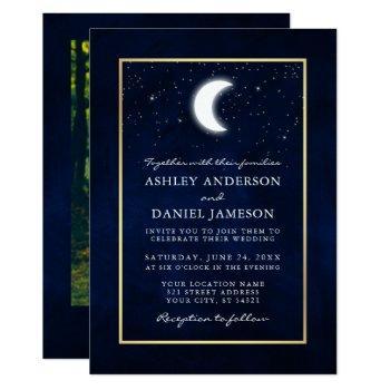 celestial moon stars gold photo wedding invitation