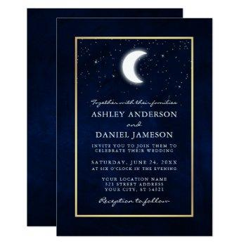 celestial moon stars gold wedding invitation