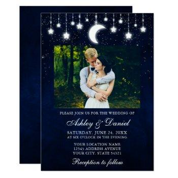 celestial moon stars lights photo wedding invitation