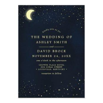 celestial moon stars midnight blue wedding invitation