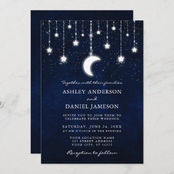 celestial moon stars string lights photo wedding invitation