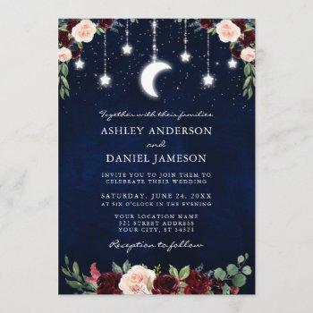 celestial moon stars string lights wedding floral invitation
