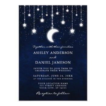 celestial moon stars string lights wedding invitation