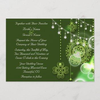 celtic clovers green and white irish wedding invitation