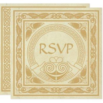 celtic design with claddagh wedding rsvp invitation