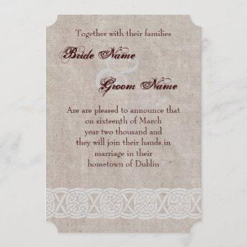 celtic knot on rustic burlap irish traditional invitation