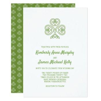 celtic knot shamrock wedding invitation