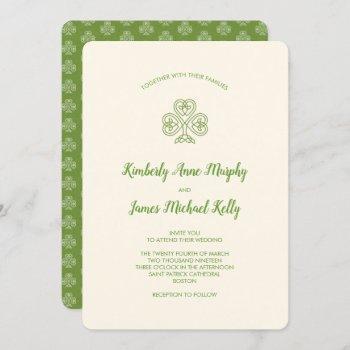 celtic knot shamrock wedding ivory invitation