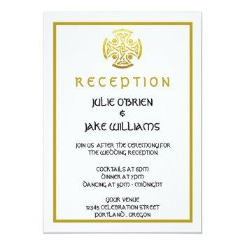 celtic wedding faux gold celtic knot cross invitation