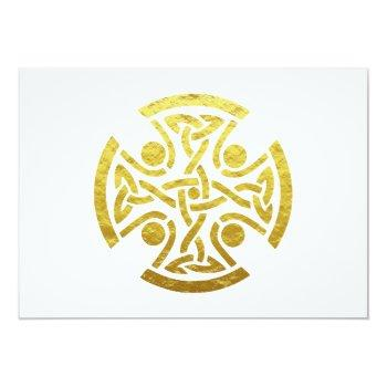 Small Celtic Wedding Faux Gold Celtic Knot Cross Rsvp Invitation Back View