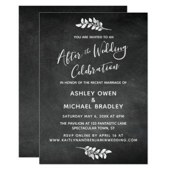 chalkboard & botanical after wedding celebration invitation