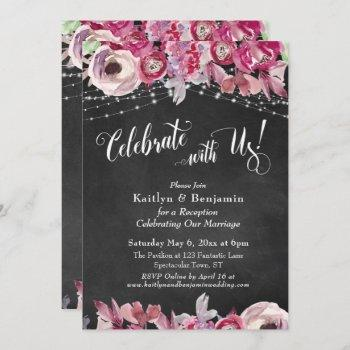 chalkboard floral lights celebrate with us! party invitation