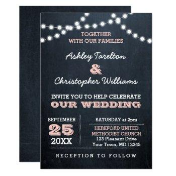 chalkboard lights pink wedding invitation