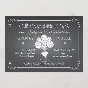 chalkboard mason jar rustic couples wedding shower invitation