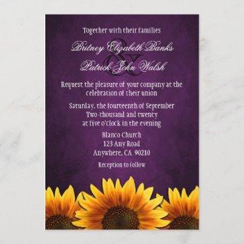 chalkboard purple sunflower wedding invitations