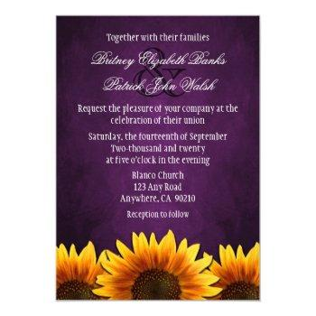 chalkboard purple sunflower wedding invitations