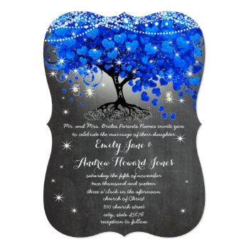 chalkboard royal blue heart leaf tree mason jar invitation