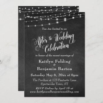 chalkboard string lights after wedding celebration invitation