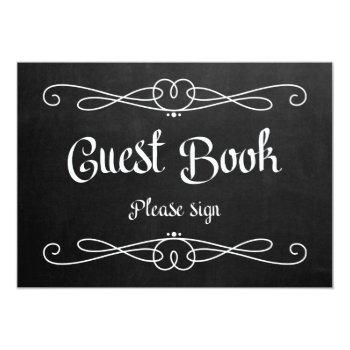 "chalkboard style ""guest book"" wedding sign invitation"