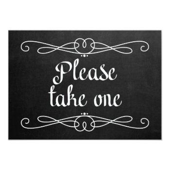 "chalkboard style ""please take one"" wedding sign invitation"