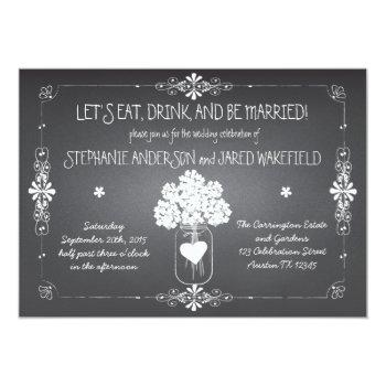 chalkboard wedding rustic mason jar invitation