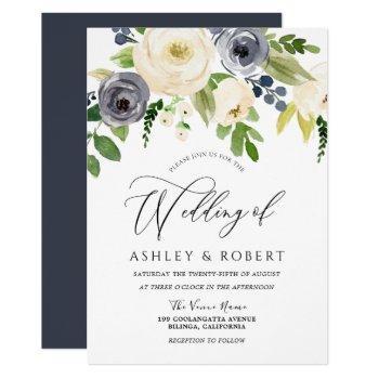 champagne blush navy blossom flowers wedding invitation