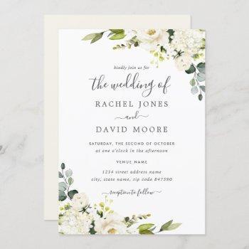 champagne green watercolor floral wedding invitation