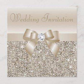 champagne sequins, bow & diamond wedding invitation