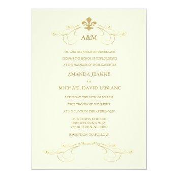 champagne white and gold fleur de lis wedding invitation