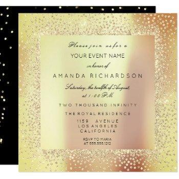 champaigne sepia gold glitter confetti rose peach invitation