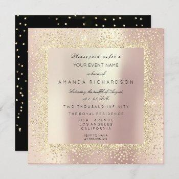 champaigne sepia gold glitter confetti rose pearl invitation