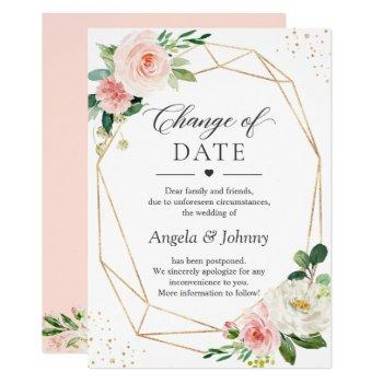 change of date blush pink floral gold geometric invitation