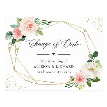 change of date elegant geometric blush pink floral postcard