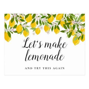 change of date postponed cancelled event lemons postcard