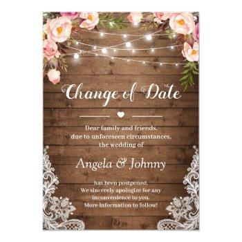 change of date rustic floral lace string lights invitation