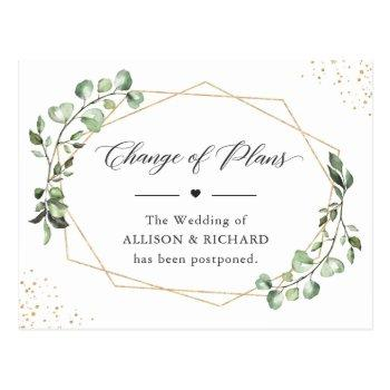 change of plans date geometric eucalyptus leaves postcard