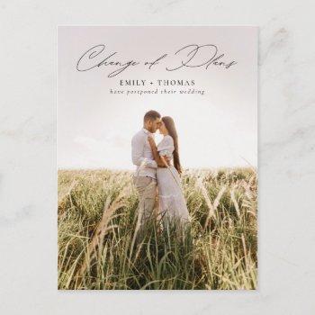 change of plans | full photo wedding postponement announcement postcard