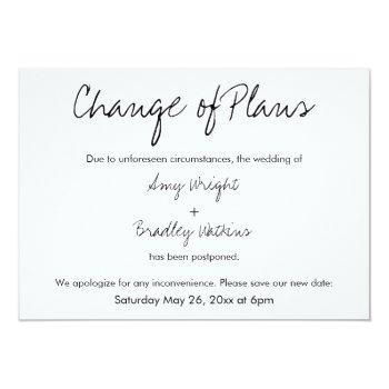 """change of plans"" postponed wedding announcement"