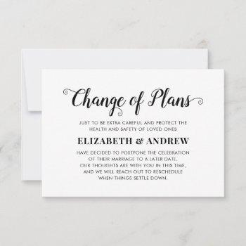 change of plans postponed wedding modern script announcement
