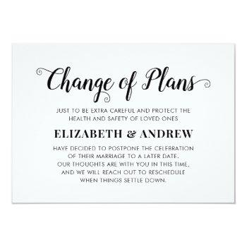 Small Change Of Plans Postponed Wedding Modern Script Announcement Front View