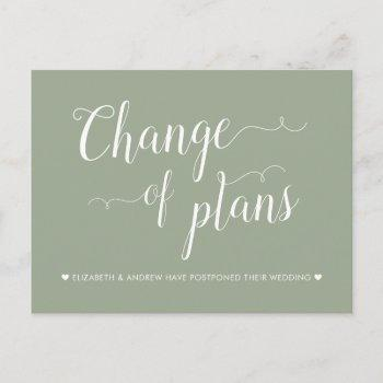 change of plans sage green wedding postponement announcement postcard