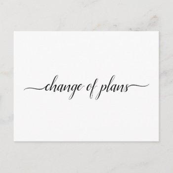 change of plans wedding cancellation postponement announcement postcard