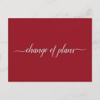 change of plans wedding cancelled postponed red announcement postcard