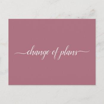 change of plans wedding cancelled postponed rose announcement postcard