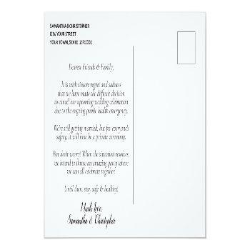 Small Change Of Plans Wedding Cancelled Postponed Teal Announcement Postcard Back View
