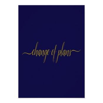 Small Change Of Plans Wedding Postponed Gold On Navy Announcement Postcard Front View